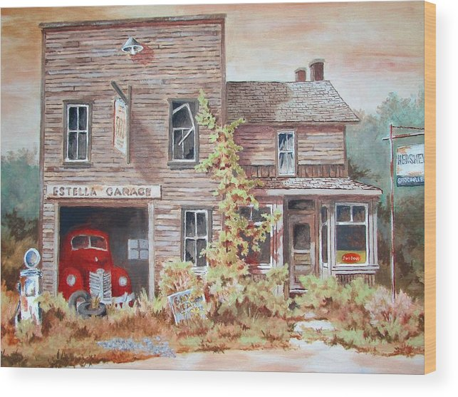 Oil Painting Wood Print featuring the painting Estella Garage by Tony Caviston