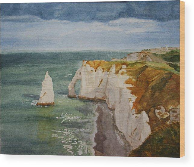 Seascape Wood Print featuring the painting Etretat by Monika Degan