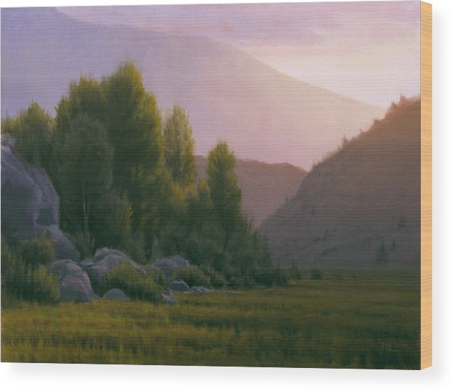 Landscape Wood Print featuring the painting Evening Grace by Joe Mancuso
