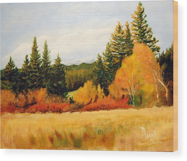 Landscape Wood Print featuring the painting Fall In Chattaroy by Mark Farr
