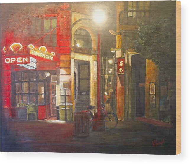 Chinatown Wood Print featuring the painting Fan Tan Alley by Victoria Heryet