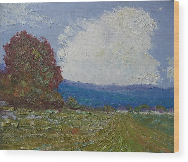 Landscape Wood Print featuring the painting Farmstead by Belinda Consten
