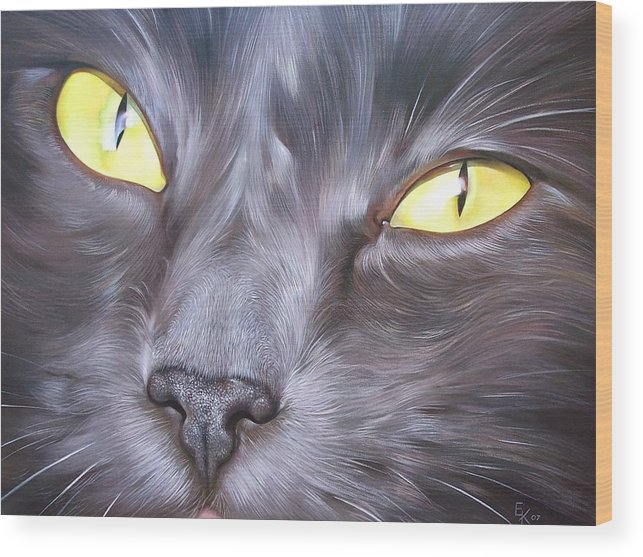 Cat Wood Print featuring the painting Feline Face 1 by Elena Kolotusha