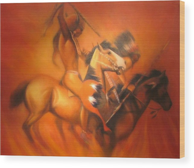 Native American Wood Print featuring the painting Fire Riders by Elizabeth Silk