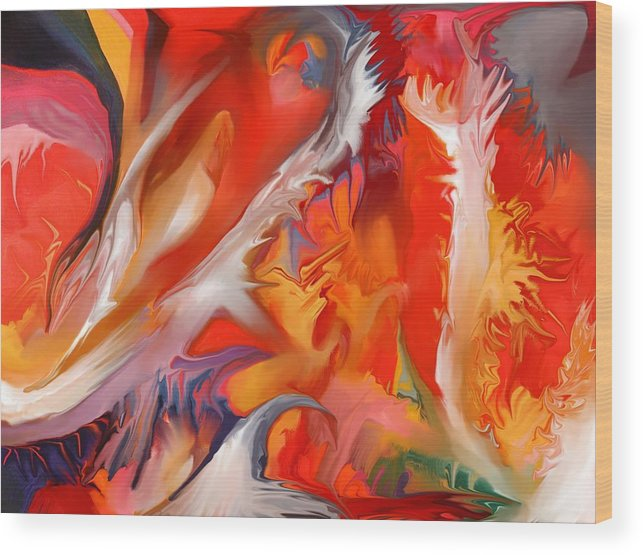 Fire Wood Print featuring the painting Fire Storm by Peter Shor