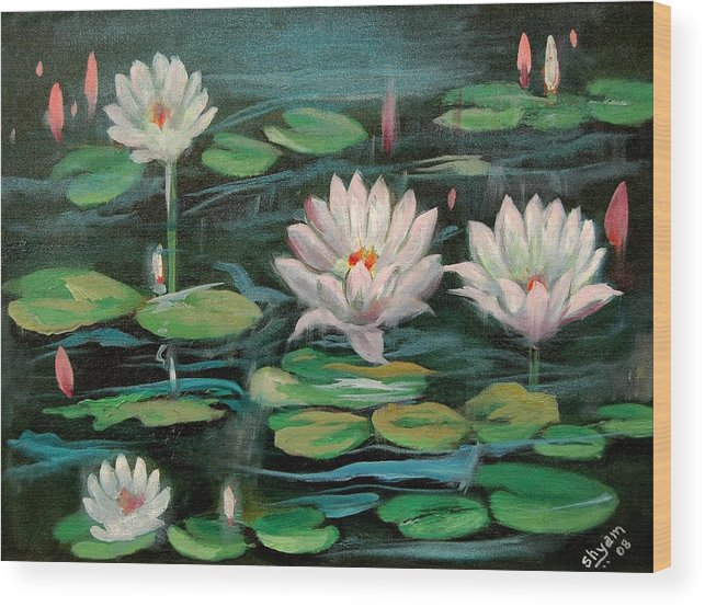 Water Lillies Wood Print featuring the painting Floating Lillies by Sai Shyamala Ramanand