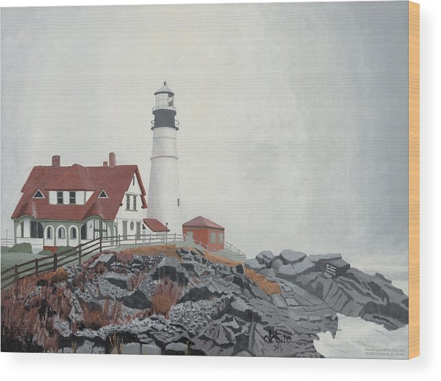 Lighthouse Wood Print featuring the painting Fog Approaching Portland Head Light by Dominic White