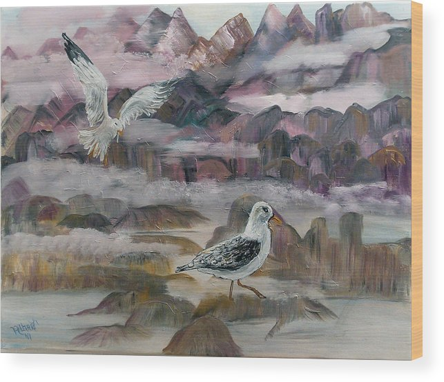 Seagulls Wood Print featuring the painting Foggy Gulls by Mikki Alhart