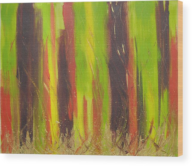 Forest Wood Print featuring the painting Forest by Jolene Courtemanche