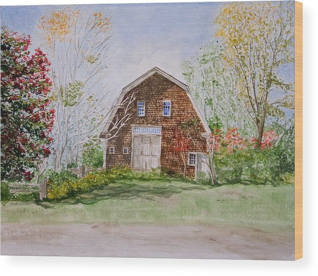 Landscape Wood Print featuring the painting Forgotten Beauty by Monika Degan