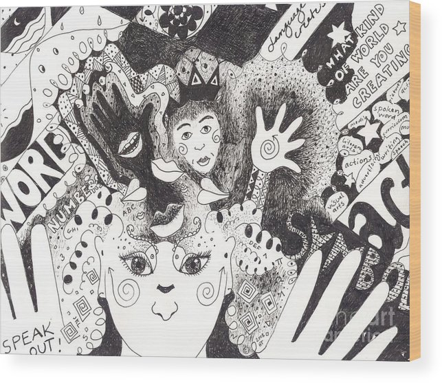 Speech Wood Print featuring the drawing Freedom Of Speech by Helena Tiainen