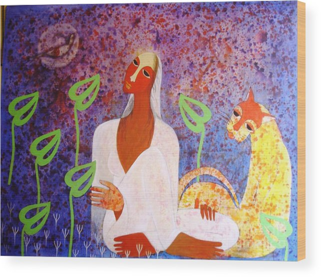 Figurative Women In Jungle Wood Print featuring the painting From The Spirit by Gk