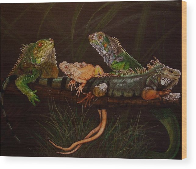 Iguana Wood Print featuring the drawing Full House by Barbara Keith