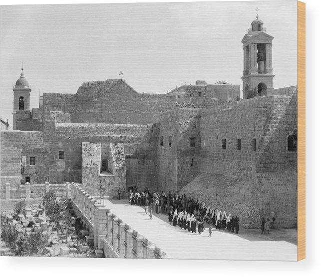 Bethlehem Wood Print featuring the photograph Funeral Procession In Bethlehem During 1934 by Munir Alawi