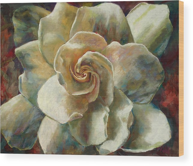 Billie J Colson Floral Art Wood Print featuring the painting Gardenia by Billie Colson