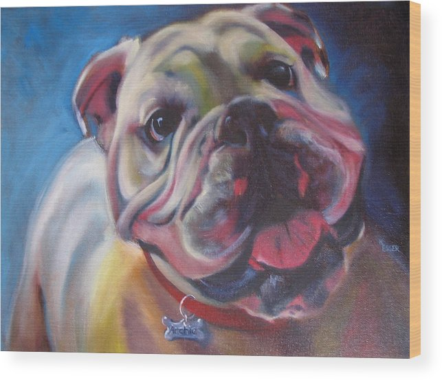 Bulldog Wood Print featuring the painting Georgia Bulldog by Kaytee Esser