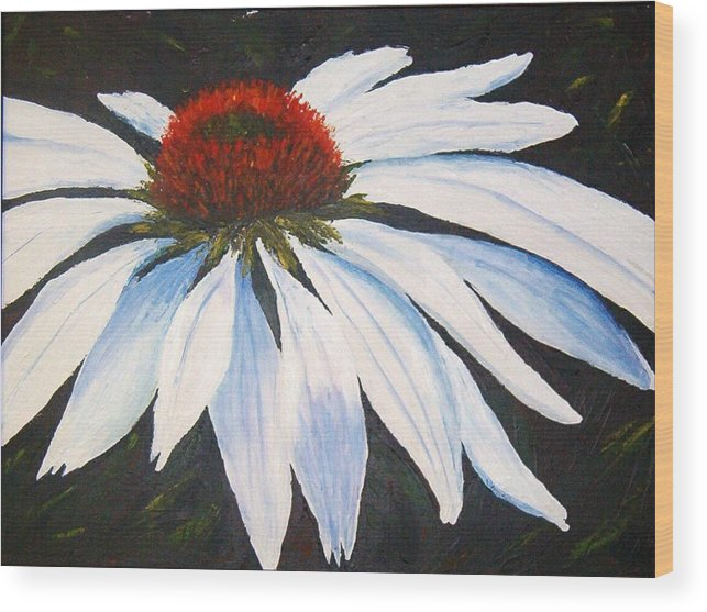 Cone Flowers Wood Print featuring the painting Ghost Cone by Tami Booher