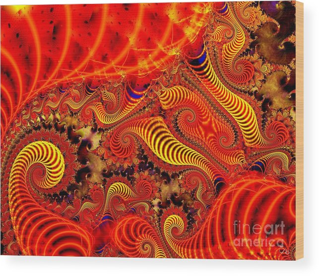 Coils Wood Print featuring the digital art Glow Coils by Ron Bissett