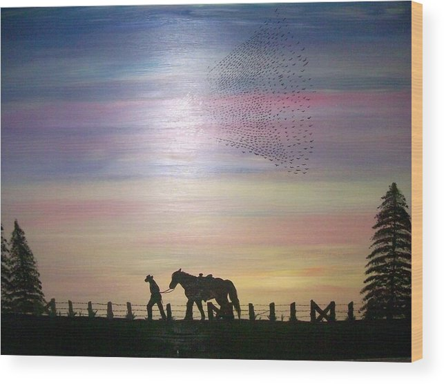 Horses Wood Print featuring the painting Going Home by Paula Ferguson