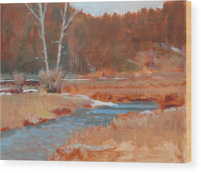 Winter Wood Print featuring the painting Gold Bar Ranch by Robert Bissett