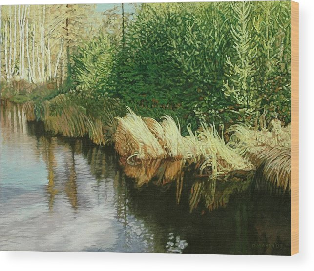 Pond Wood Print featuring the painting Greenview Beaver Pond by Allan OMarra