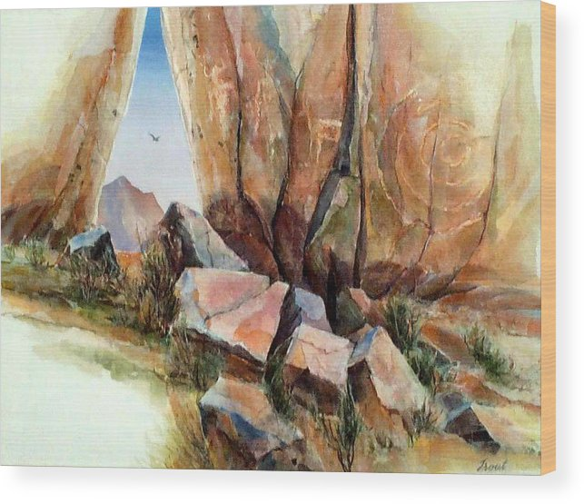 Southwest Landscape Mixed Media Wood Print featuring the painting Hall Of Giants by Don Trout