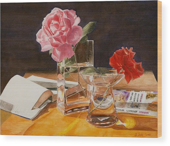Rose Wood Print featuring the painting Handbuch by Nik Helbig