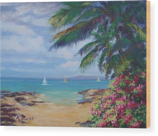 Landscape Wood Print featuring the painting Hawaii Calling by Maxine Ouellet