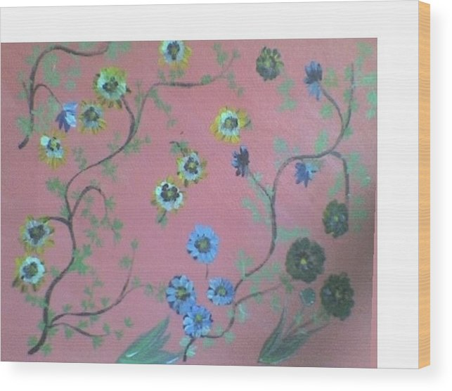Florals Wood Print featuring the painting Hds-acrylic-floral-pink by Hema V Gopaluni