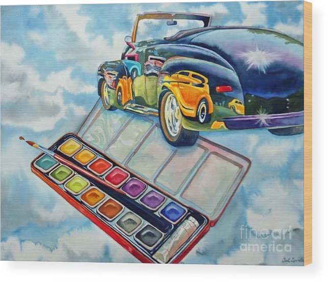 Old Vintage Car Wood Print featuring the painting Heavenly Hotrod by Gail Zavala