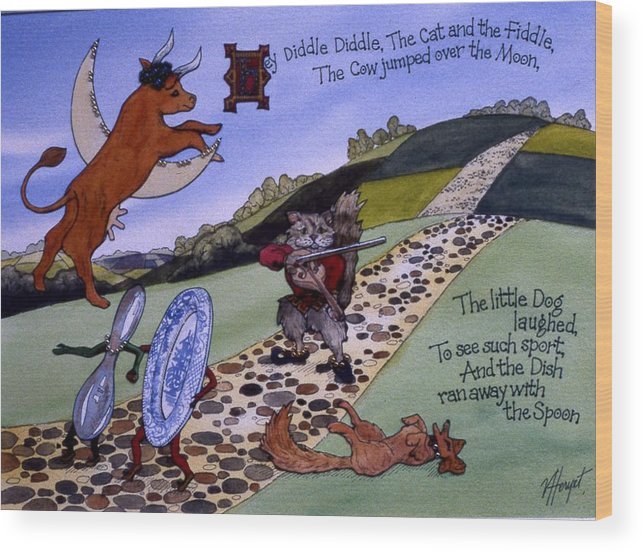 Heyy Diddle Diddle Wood Print featuring the painting Hey Diddle Diddle by Victoria Heryet