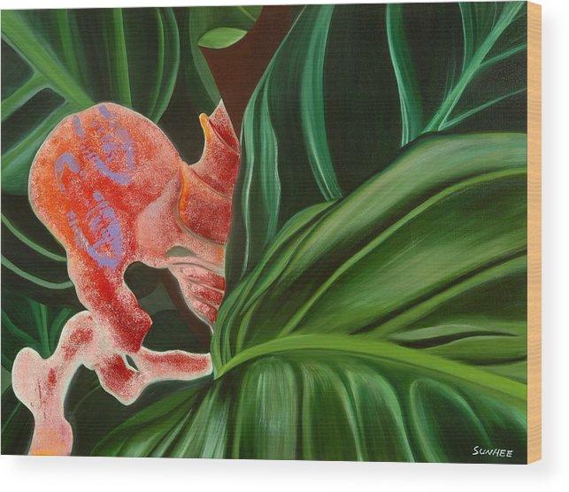Floral Wood Print featuring the painting Hide'n Seek by Sunhee Kim Jung