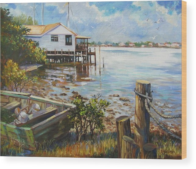 Old Rowboat Wood Print featuring the painting High And Dry by Dianna Willman