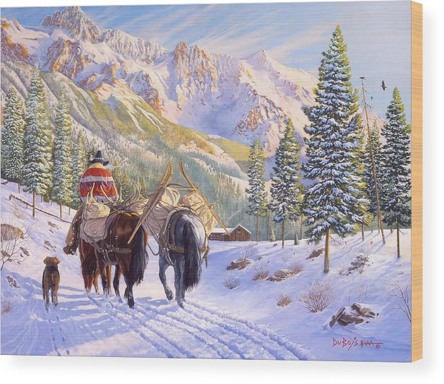 Horses Wood Print featuring the painting High Country by Howard Dubois