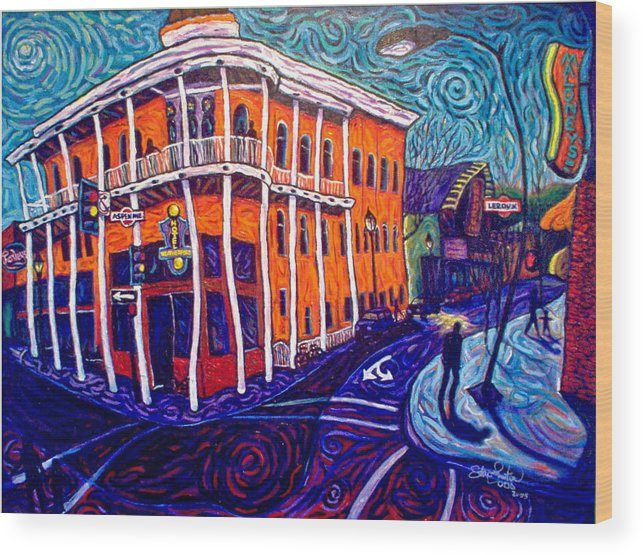 Historic Wood Print featuring the painting Historic Hotel Weatherford by Steve Lawton