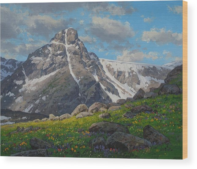 Landscape Wood Print featuring the painting Holy Cross Wilderness by Lanny Grant