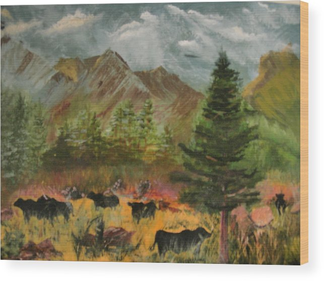 Landscape Wood Print featuring the painting Home On The Range by Jack Hampton