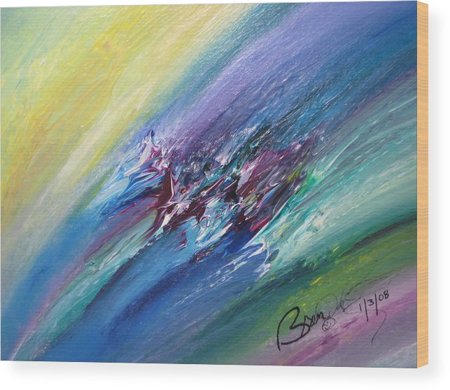 Abstract Wood Print featuring the painting Honeymoon Bliss - C by Brenda Basham Dothage