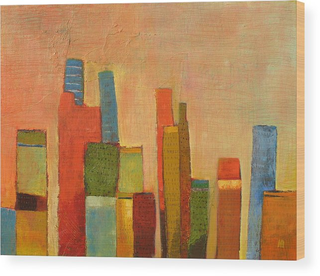 Abstract Cityscape Wood Print featuring the painting Hot Manhattan by Habib Ayat