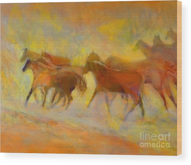 Horses Wood Print featuring the painting Hot Things by Kip Decker