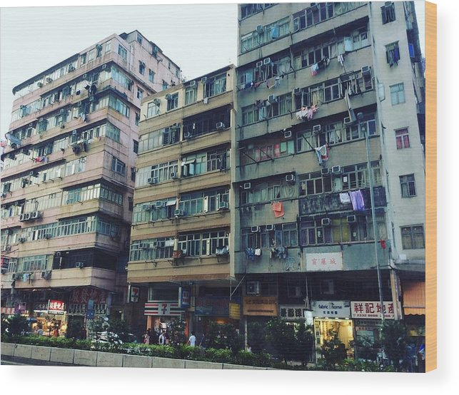 Hongkong Wood Print featuring the photograph Houses Of Kowloon by Florian Wentsch