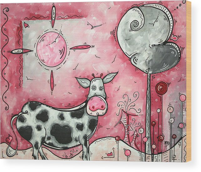 Art Wood Print featuring the painting I Love Moo Original Madart Painting by Megan Duncanson