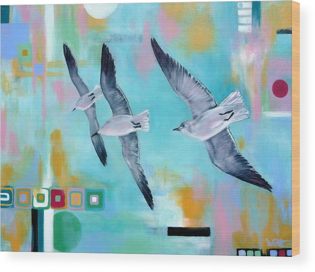 Seagulls Wood Print featuring the painting In Flight by Tammy Watt