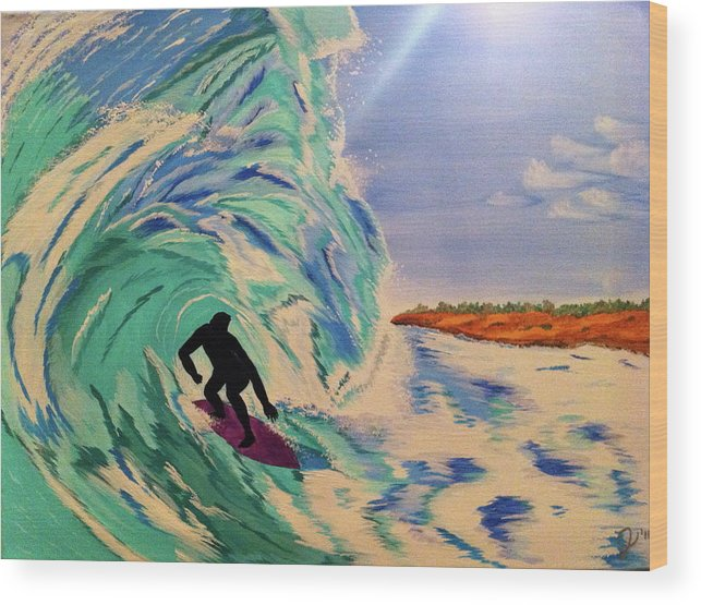 Beach Wood Print featuring the painting In The Slot by Jenn Holmberg