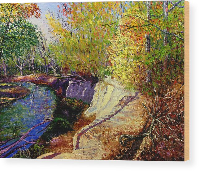 Fall Wood Print featuring the painting Indiana Creek Bank by Stan Hamilton