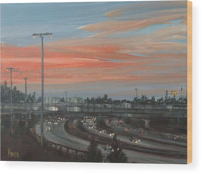 Skyscape Wood Print featuring the painting Interscape 85 by Pete Maier