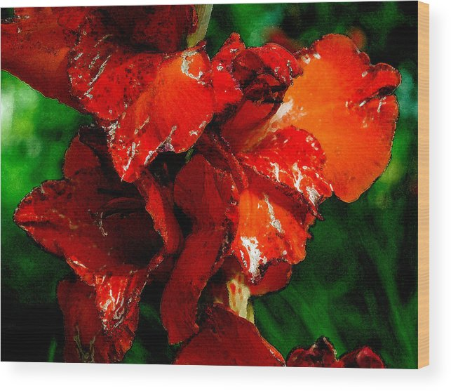 Iris Wood Print featuring the digital art Iris On Green by Pradeep Bangalore