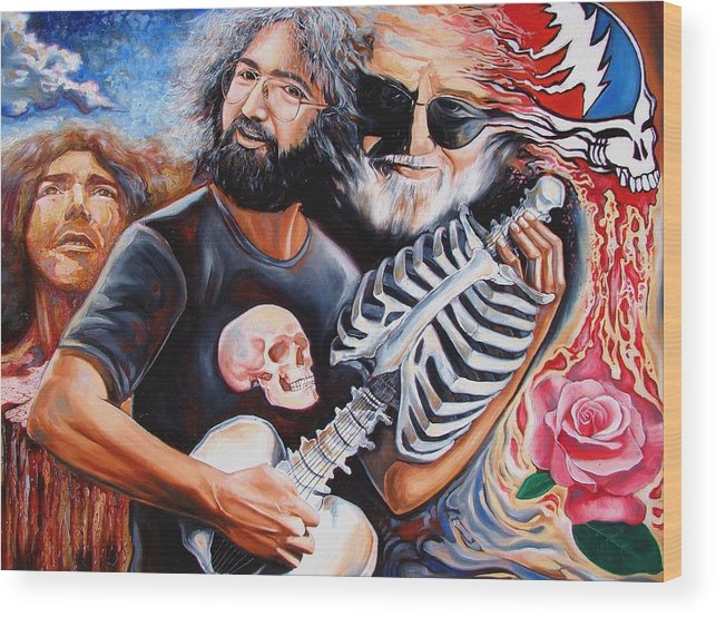 Jerry Garcia Wood Print featuring the painting Jerry Garcia And The Grateful Dead by Darwin Leon