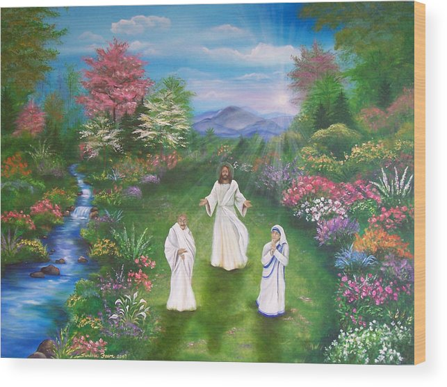 Landscape Wood Print featuring the painting Jesus Mother Theresa And Gandhi by Sundara Fawn