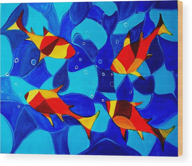 Abstract.acrylic.fish.bubbles.art.painting.modern.contemporary.popblue Red Bubbles Yellow Landscape Wood Print featuring the painting Joy Fish Abstract by Manjiri Kanvinde